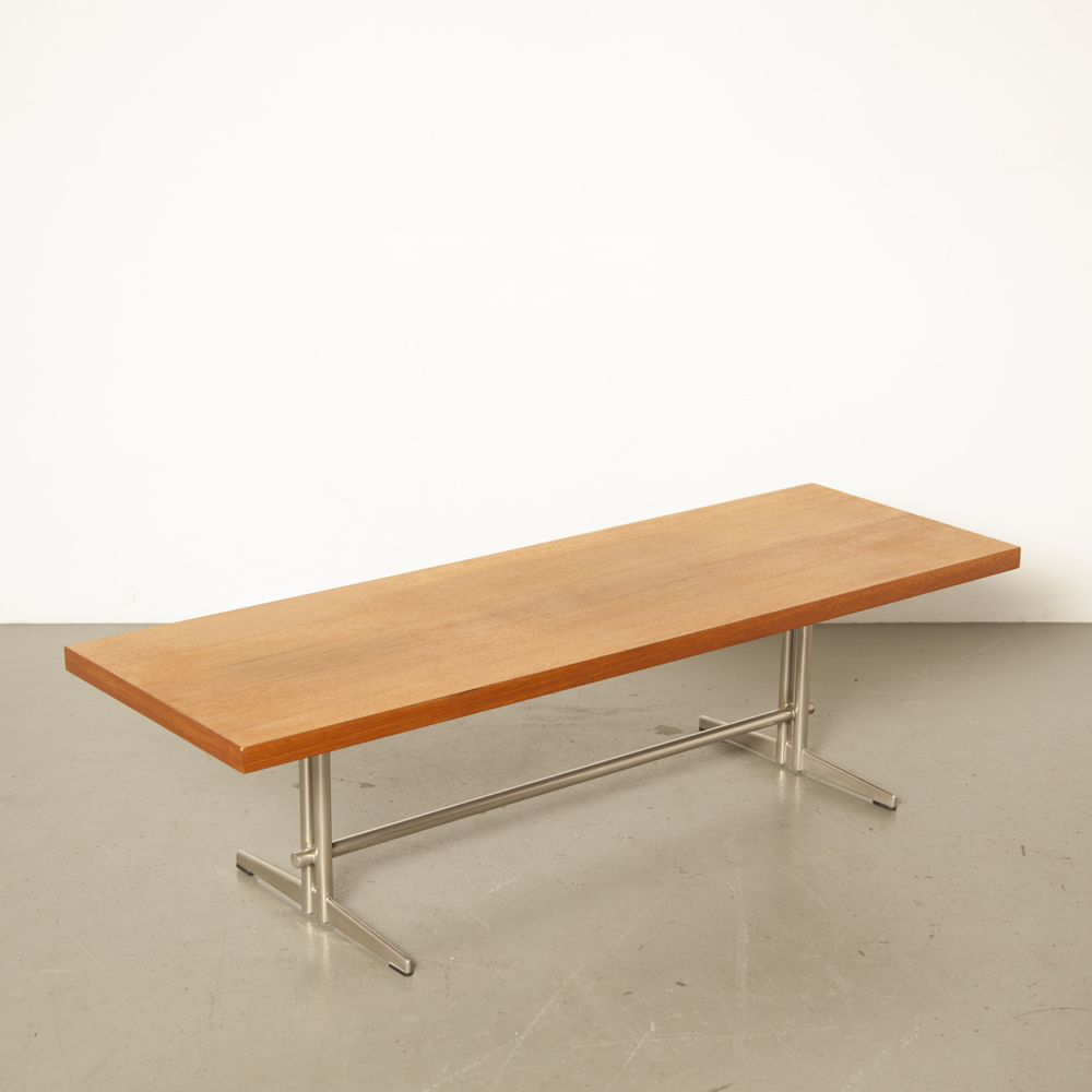 TopForm Coffeetable table salon teak veneer top nickel-plated frame legs rectangular midcentury modern vintage retro 60s 1960s sixties Dutch design secondhand
