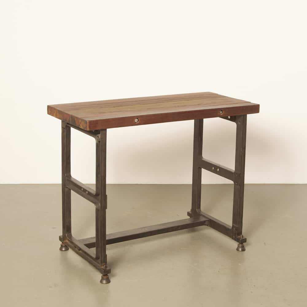 workbench work table desk sturdy industrial industrial indestructible cast iron leg hardwood top