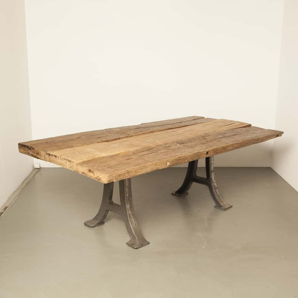 Solid old antique wood table cast iron leg dining rural robust rugged conference rustic reuse upcycle upcycled upcycling vintage retro industrial