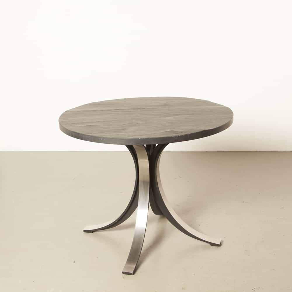 Runder Tisch schwarzer Schiefer T69 Osvaldo Borsani Tecno Italien Bein aus gebürstetem Aluminium 60er 1960er XNUMXer Jahre Vintage Retro Italienisch Modern