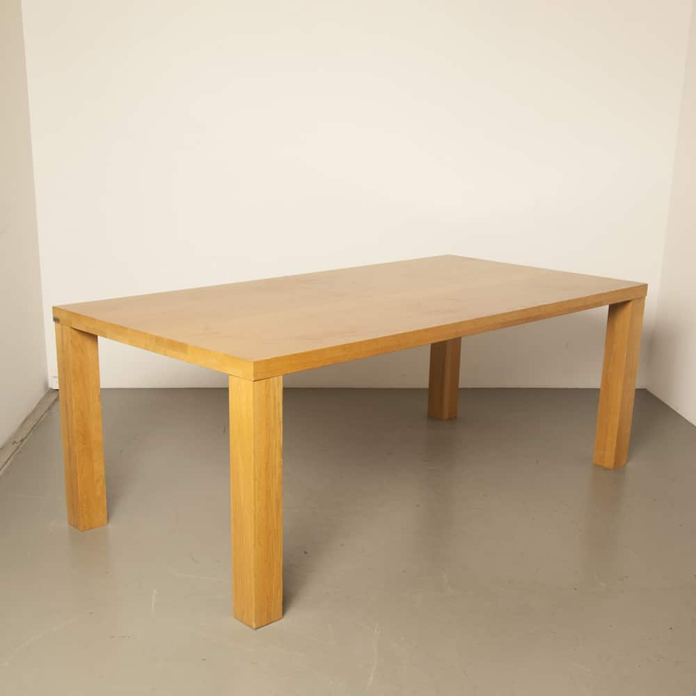 Pure table Bert Plantagie solid oak varnished finished sleek minimalist squared design secondhand Dutch modern 00s 2000s Noughties
