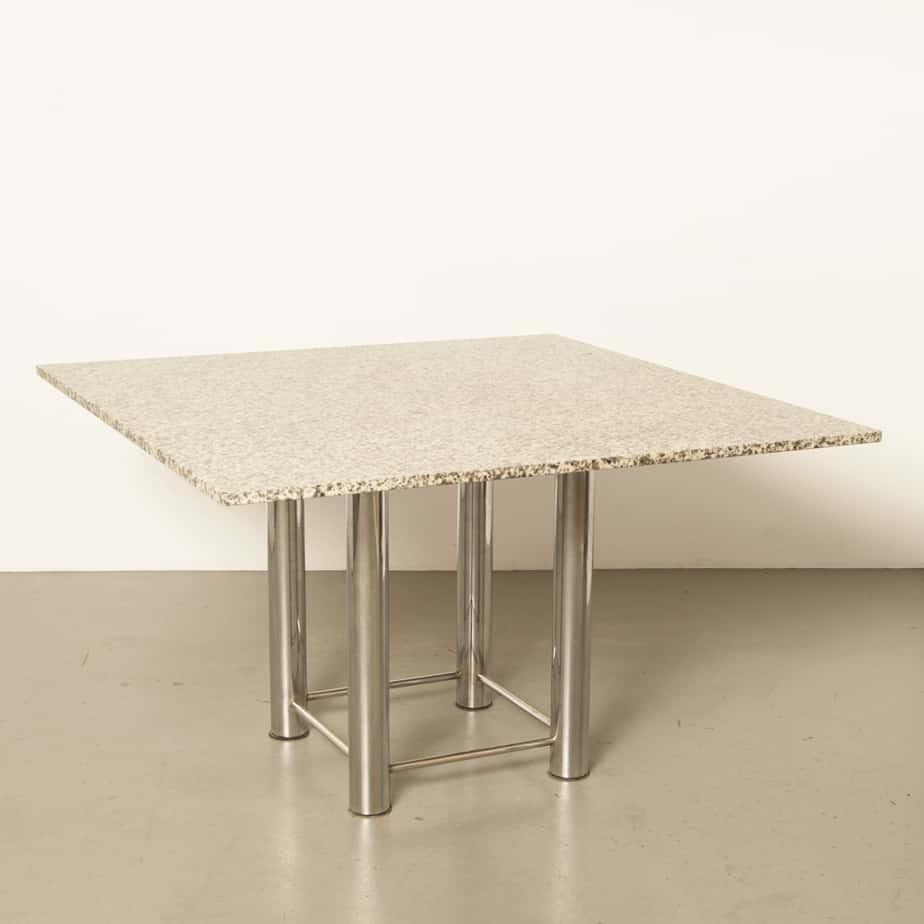 Granite Table square dining table solid chrome frame leg base vintage retro Italian modern luxurious secondhand design postmodern