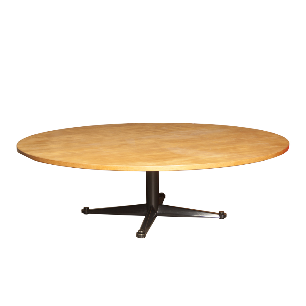 회의 회의 작업 테이블 대형 무거운 Friso Kramer Ahrend 오크 세트 시트 스틸 블랙 파우더 코팅 특수위원회 대학 TU 아인트호벤 빈티지 레트로 60 대 1960 년대 XNUMX 년대