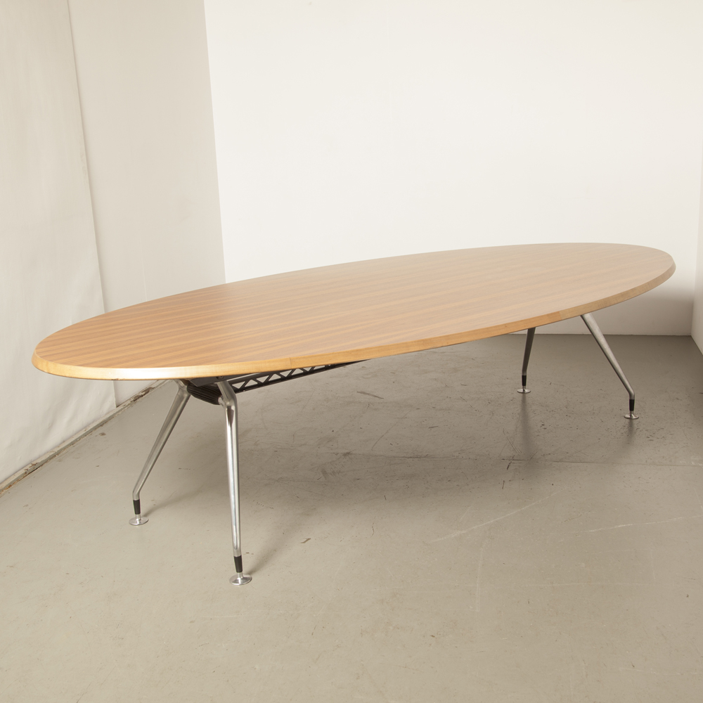 Wilkhahn Conference table meeting work oval ellipse teak veneer solid beech edging cast polished aluminum legs bend chrome design secondhand 2000s Noughties contemporary