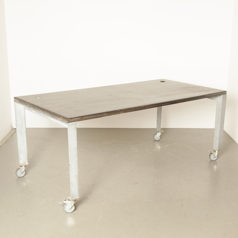 Work table Bar Standing wheels industrial spotted zinc steel black plywood heavy rugged sturdy strong indestructible workshop studio Hans Ubbink design secondhand