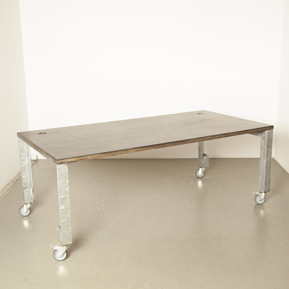 Work table Dining Room wheels industrial spotted zinc steel black plywood heavy rugged sturdy strong indestructible workshop studio Hans Ubbink design secondhand