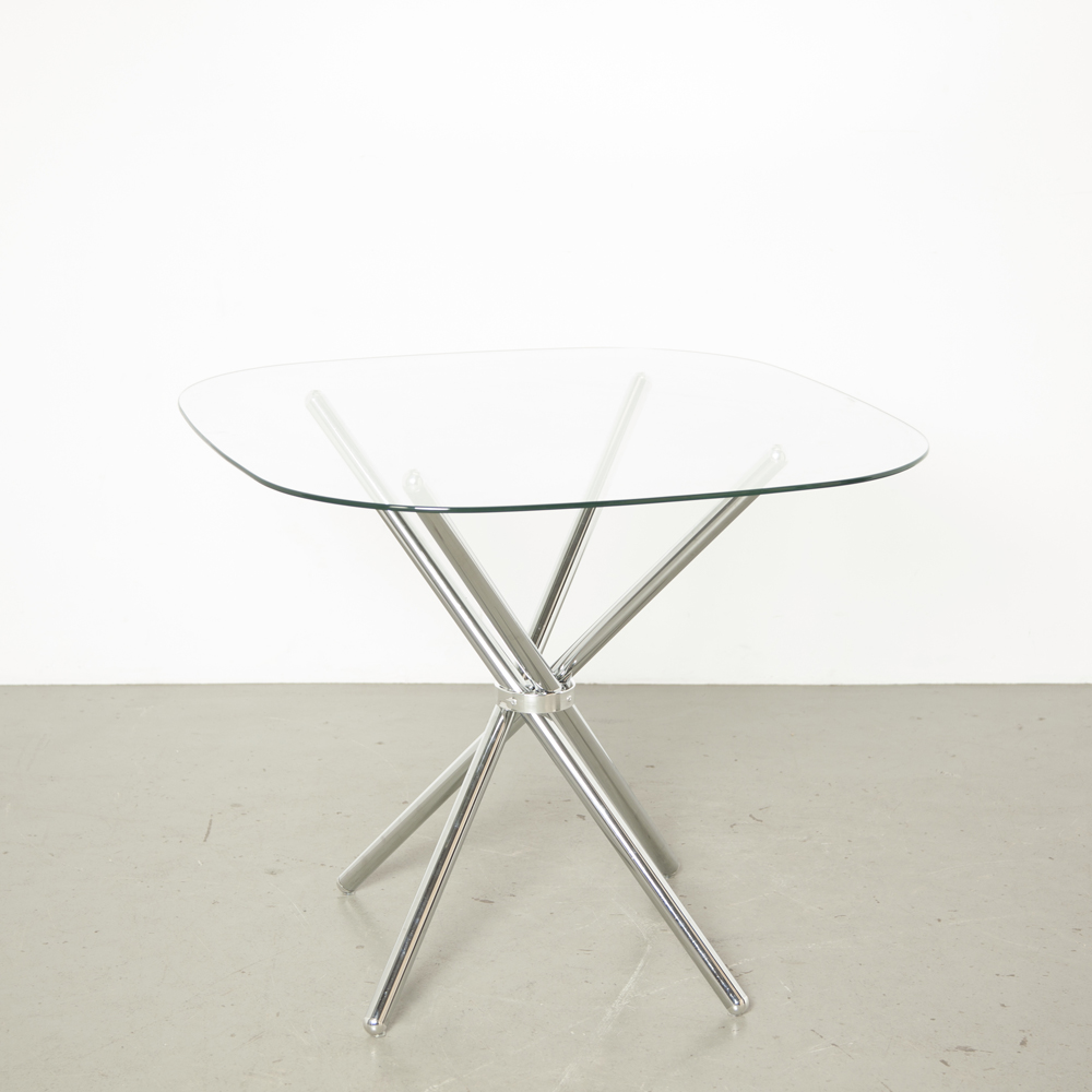 Tetrapod table Quadrapod chrome tube glass top four-way cross X form bundle chopstick Pedestal folding foldable lite delicate design dining room cafe kitchen modern secondhand
