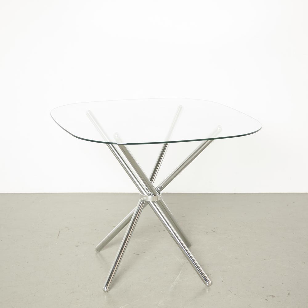 Tetrapod tafel Quadrapod chromen buis glazen blad viervoudig kruis X vorm bundel eetstokje Voetstuk opvouwbaar lite delicaat ontwerp eetkamer café keuken modern tweedehands
