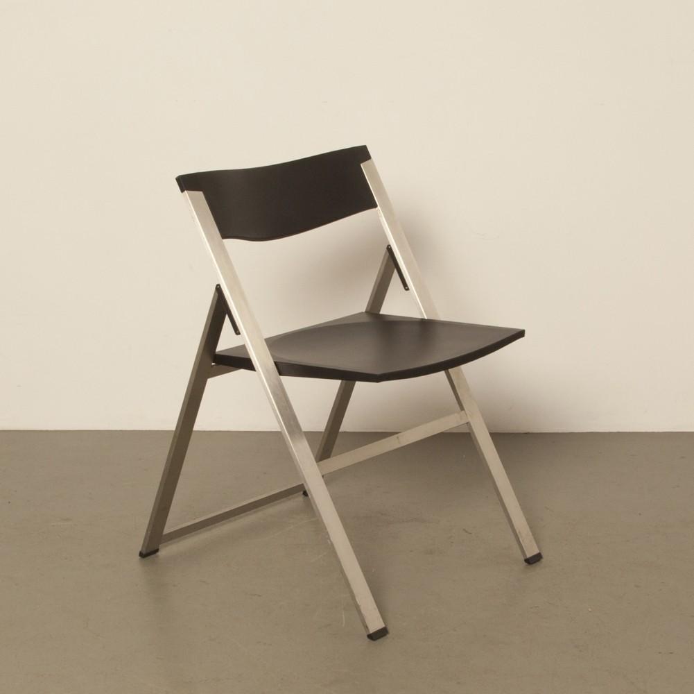 Chaise pliante Tecno P08 Kolberg en acier inoxydable noir