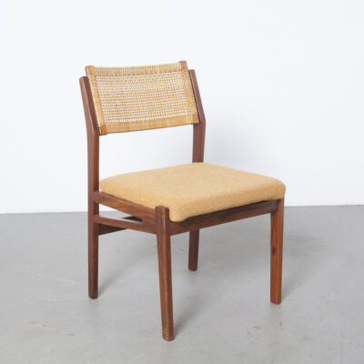 TopForn Dining Room Chair solid teak wicker reed back brass brackets vintage fabric seat 1960s 60s sixties retro mid-century modern Dutch Design original condition