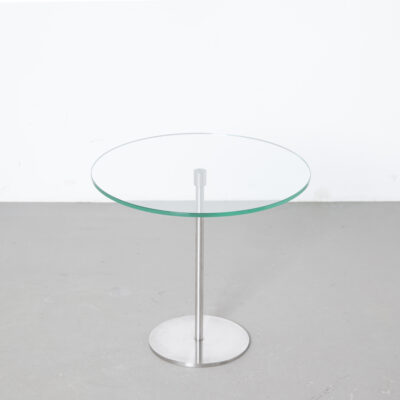 Round Glass Side-Table flat polished edge bevel brushed chrome stainless steel look base column secondhand design living room