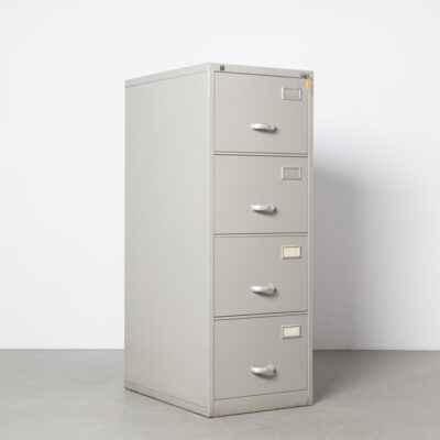 Gispen 7800 series kleuro archive filing cabinet André Cordemeijer 4 drawers drawer Storage Office furniture equipment design grey industrial vintage retro 50s 1950s fifties rounded brushed aluminum handels rounded corners solid sturdy heavy duty