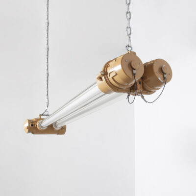 Double Tube Light Tan GDR hanging DDR parallel glass lamp aluminum fluorescent industrial ceiling pendant laboratory factory dust-proof explosion-proof coal mine tough sturdy upcycling