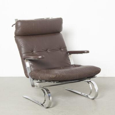 COR Кресло тяжелый хромированный плоский стальной каркас, скрепленный болтами, консольный, плавающий, упругий, винтажный, коричневая кожа, патина, прочный, прочный, ар-деко, современное ретро середины века, 1960-е, шестидесятые, Немецкое мягкое кресло