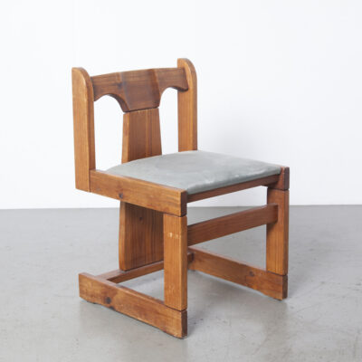 Solid Pine Three-leg Dining Chair 1970s 13