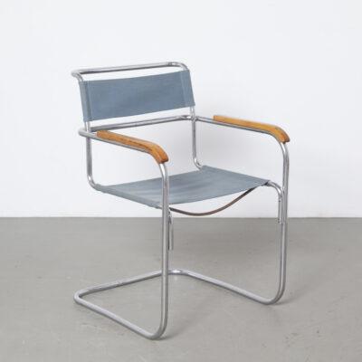 كرسي الكابولي Robert Slezák Mart Stam Marcel Breuer Bata Mücke Melder Thonet Eisengarn من خيوط الحديد الأزرق الأصلي النادر من النيكل المطلي بالكروم إطار فولاذي أنبوبي مطلي بالكروم في ثلاثينيات القرن العشرين مسند ذراع من الخشب الأشقر Bauhaus خمر ريترو منتصف القرن الحديث