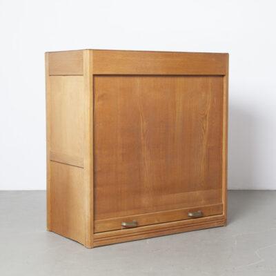 Jaloezie voorkast eiken rol voorkast opbergkast kantoor massief hout hardhouten body deur plank vintage retro industrieel antiek bruin fournituren archief