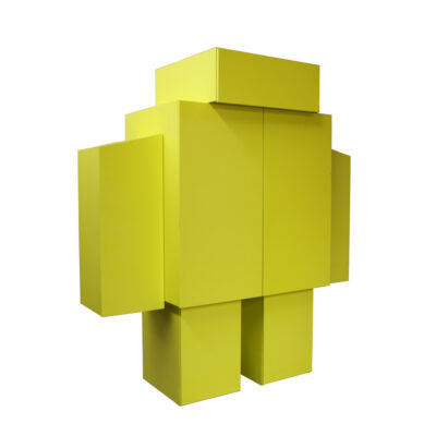 Robot Cabinet huge bright yellow unique one-off custom made MDF stacked storage cupboard closet room divider monolith freestanding postmodern Memphis design shelf door