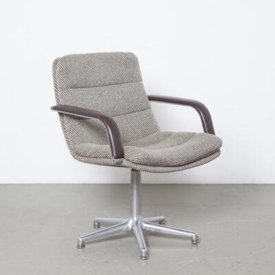 Channel办公椅Geoffrey Harcourt Artifort Netherlands办公桌会议原始皮革扶手羊毛条纹棕色燕麦垫装饰铝制可旋转5脚底底座复古怀旧80年代1980年代XNUMX年代荷兰设计本世纪中期现代
