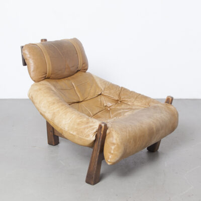 Tripod Lounge Chair Gerard van den Berg Montis Netherlands Dutch design seventies lumpy earthy easy pine fir spruce frame soft camel caramel faded sun bleached leather cushion shaped brown canvas support slung hung patina vintage retro mid-century modern