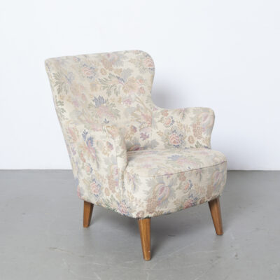 Theo Ruth Artifort lady's model armchair easy lounge low original floral upholstery faded solid blond wood legs 50s 1950s fifties mid-century modern vintage retro dutch design flower print sun bleached