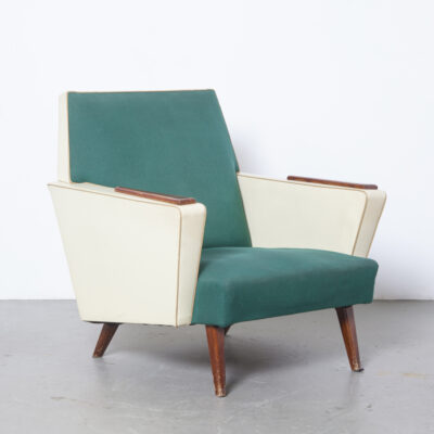 Green and cream oatmeal armchair lounge easy chair woven fabric skai vinyl solid teak armrest accent late fifties early sixties squared-off design solid closed sides vintage retro mid-century modern 1950s 1960s