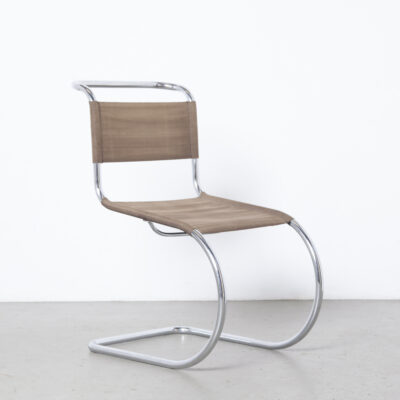 MR10 MR533悬臂椅Mies van der Rohe Mart Stam Thonet稀有的早期原始的Eisengarn铁丝织物,棕色,螺丝,镍铬,管状钢架,1930年代,三十年代的包豪斯,老式,复古,本世纪中叶,现代,现代,吊索休息室