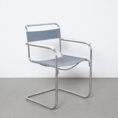 S34 Cantilever Chair Mart Stam rare early screwed screws Thonet Mücke Melder Slezák original Eisengarn iron yarn fabric blue nickel chromed tubular steel frame 1930s thirties white wood armrest Bauhaus vintage retro mid-century modern