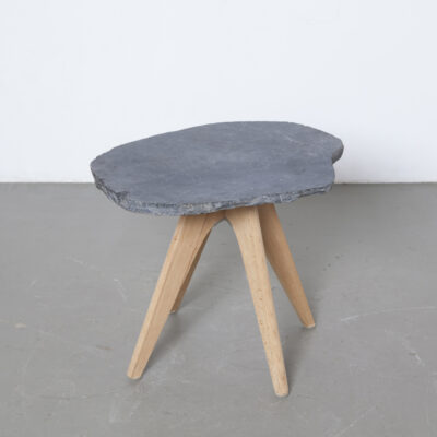 Slate Slab top side accent table upcycling made in-house black grey unfinished solid maple legs base school chair Adam Stegner Pagholz Flötotto Germany fifties rustic rural design
