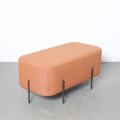 Elephant bench pouf hocker Isaac Piñeiro Sancal Spain Nadadora design pachyderm geometric rectangle rounded edges Tierra Collection linen graphite electroplated black chrome legs seat foot stool ottoman footrest tuffet salon table tray