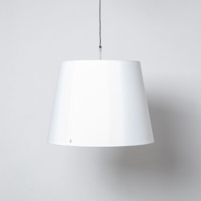 LOVE hanging lamp moooi Marcel Wanders Studio white shade black cable fitting E27 silver stem PVC/viscose laminate metal frame tapering light versatile charismatic form function design Dutch secondhand