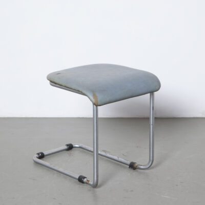 Unique rare early cantilever tubular steel stool footstool nickel plated leatherette hocker patina rust bauhaus Mart Stam Gispen vintage retro foot stool ottoman footrest mid-century modern modernist nickelled chromed