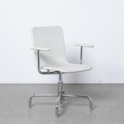 Soho desk chair Naoto Fukasawa Magis Italy white chrome 4 star base swivel one piece flexible soft-foam seat back polyurethane contemporary modern design office conference