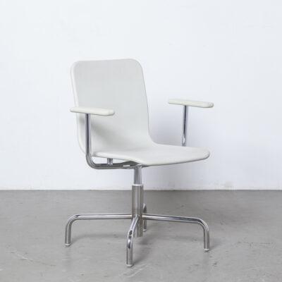 Стул Soho Naoto Fukasawa Magis, Италия, белый хром, 4 звезды, поворотная цельная, гибкая, мягкая, вспененная, спинка сиденья, полиуретан, современный дизайн, офисная конференция