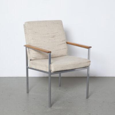 Gispen Nr 1266 fauteuil de bureau Coen de Vries chaise de conférence accoudoirs en noyer tube carré acier chromé original laine tissu d'ameublement drap plié vintage rétro industriel milieu du siècle moderne des années 1960 années XNUMX réunion salle d'attente