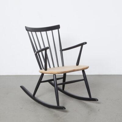 主轴回摇椅黑色金发座椅风扇回丹麦乡村乡村风格扶手椅扶手实木1950年代1960年代复古复古五十年代六十年代中叶现代木