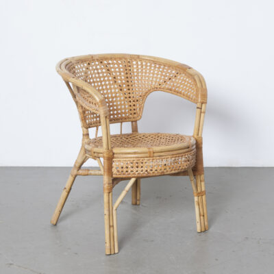 Vintage design rattan chair wicker cane seat bent bamboo frame armchair lounge easy wickerwork retro brocante