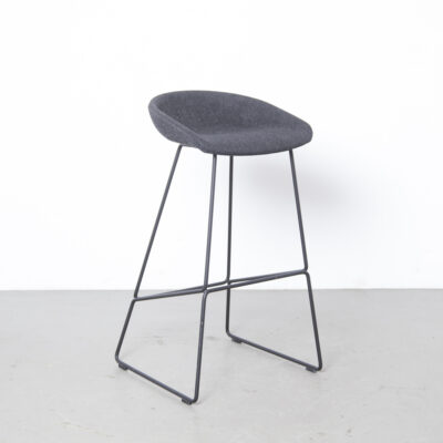 About A Stool AAS39 HAY Denmark chair bar barstool Hee Welling charcoal grey wool upholstery welded rod steel sled base modern design secondhand 00s 2000s Noughties Danish contemporary
