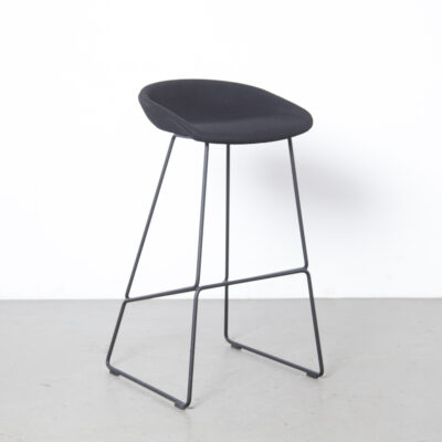 About A Stool AAS39 HAY Denmark chair bar barstool Hee Welling black wool upholstery welded rod steel sled base modern design secondhand 00s 2000s Noughties Danish contemporary