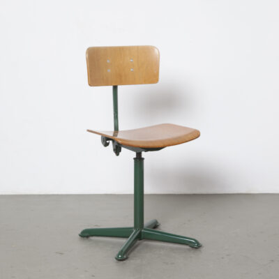 Oda Ahrend drafting chair stool adjustable height back 1950s fifties green metal 4-toe base swivel bent plywood seat vintage retro industrial mid-century modern architect