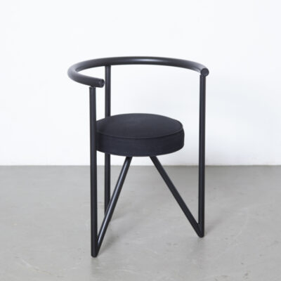 Miss Dorn chair Philippe Starck Disform Spain 1980s eighties black postmodern post-modern dining three leg tripod circle tubular black lacquered steel round cotton seat sculptural secondhand design