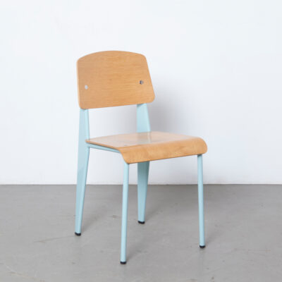 Standard chair Jean Prouvé Vitra Germany pale blue oak plywood varnish spanner drilled tamper proof screws structure engineer metal powder-coated dining vintage retro thirties mid-century modern re-edition
