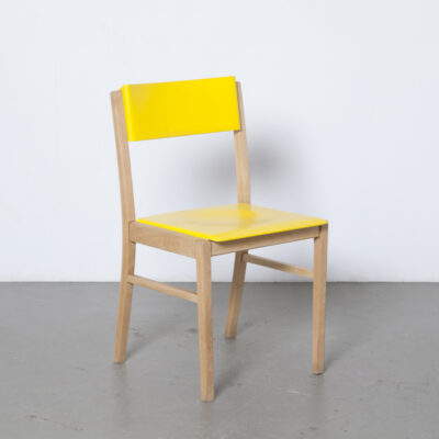 Zavod Sabinov dining chair solid beech frame legs yellow white cream plastic seat back Czechoslovakia vintage retro mid-century modern sixties 1960s square bowed back leg
