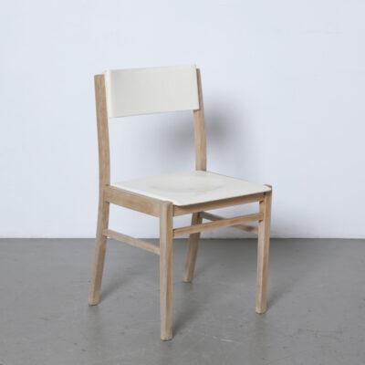 Zavod Sabinov餐椅实心山毛榉木框架腿白色奶油塑料座椅靠背捷克斯洛伐克老式复古本世纪中叶现代六十年代1960年代方形弓背腿