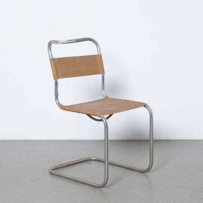Уникальный редкий ранний консольный стул из трубчатой стали, никелированная патина, ржавчина, железная пряжа Eisengarn, ткань, оригинальный Bauhaus, Mart Stam, винтаж, ретро, середина века, современный модерн, никелированная хромированная рама, 1930-е, XNUMX-е годы.