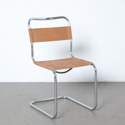 Unique rare early cantilever tubular steel chair nickel plated patina Eisengarn iron yarn fabric original Bauhaus Mart Stam vintage retro mid-century modern modernist nickelled chromed frame 1930s thirties newly polished