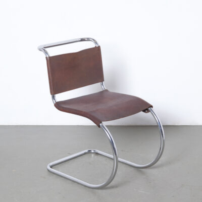 MR10 Cantilever Chair Mies van der Rohe Mart Stam Thonet rare early original leather brown screwed screws chromed tubular steel frame 1930s thirties Bauhaus vintage retro mid-century modern modernist sling lounge Ludwig Armless architect
