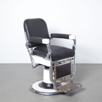 Theo A Kochs Company Chicago barbers chair barbershop American black leather nickel plated porcelain enamelled cast iron antique Hydraulic lift reclining mechanism handle swivel recline raise lower adjustable hairdresser salon shave decor seat heavy vintage retro industrial armrest
