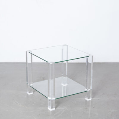 The Hague side-table BOR design tempered glass Plexiglas Perspex Lucite Acrylic legs transparent clear Dutch design modern contemporary secondhand