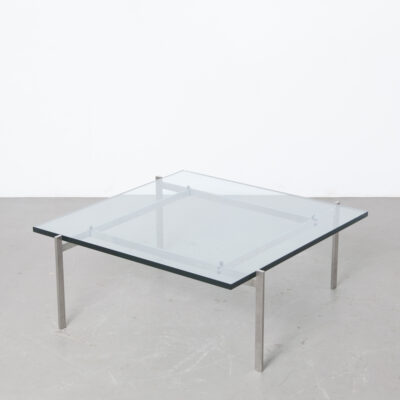 PK61 coffee table Poul Kjærholm Fritz Hansen Denmark Kold Christensen minimalistic square aesthetic design satin brushed stainless steel frame legs thick glass top vintage retro mid-century modern classic salon Republic of